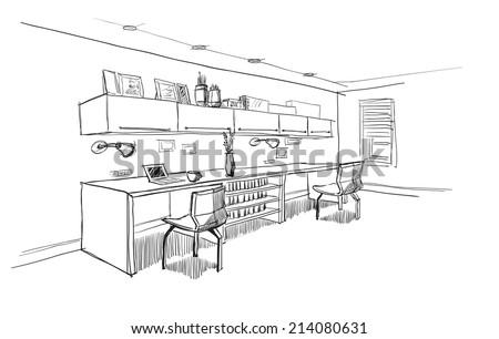 Home office interior sketch. - stock vector