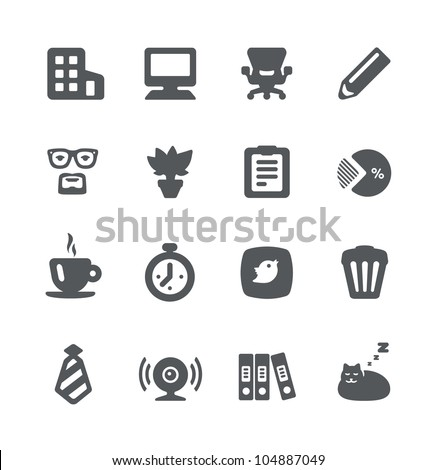 Home office simple minimalistic grey icons - stock vector
