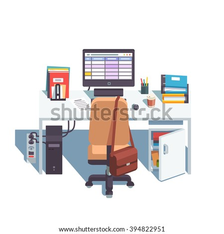 Home or office desk with casters chair, desktop computer with sheets application, some papers and binders. Top back side view. Flat style color modern vector illustration. - stock vector