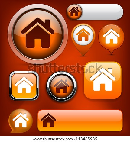 Home orange design elements for website or app. Vector eps10. - stock vector