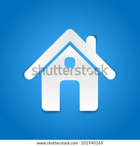 Home - paper cut design - stock vector