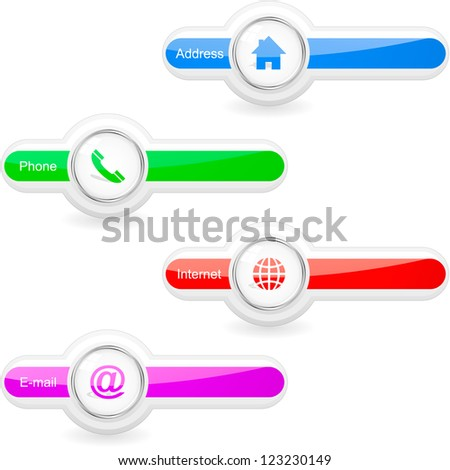Home, phone, internet and email. Vector icons. - stock vector