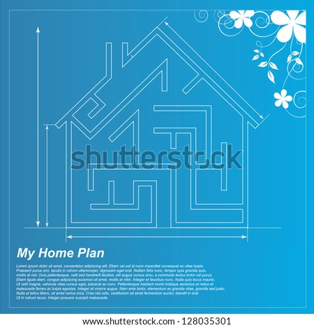 Home Plan - Architectural Blueprints Concept Vector Elements - stock vector