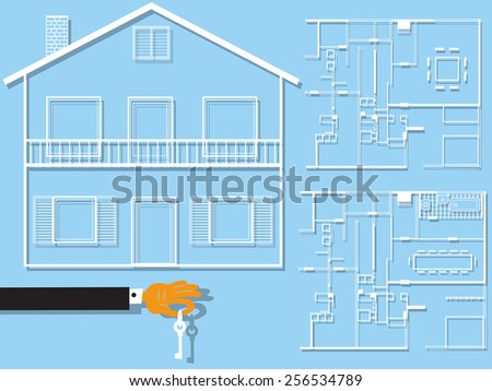 Home plan with a cartoon hand holding a key. - stock vector