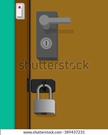 Home protection with double lock - stock vector
