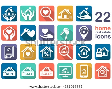 home, real estate icons - stock vector