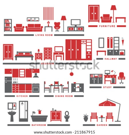 Home related icons 3 - stock vector
