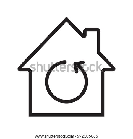 home renovation linear icon thin line illustration house with reload sign inside contour