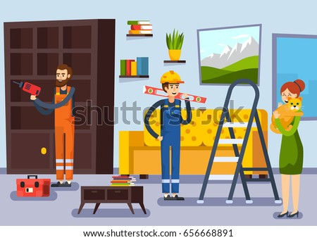 home renovation remodeling flat poster with carpenter and repairman workers characters and woman with cat vector