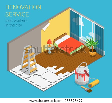 Home renovation service business flat 3d isometric web banner infographics template vector. Sleeping room bedroom interior redecoration condo ldg with new wallpaper paint can roller ladder and sketch. - stock vector