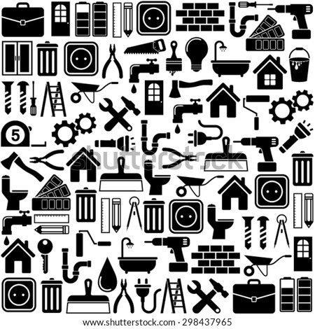 Home repair and tools Icons - stock vector