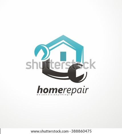 Home repair emblem with tool and symbol of a house. Creative home logo design idea. Home repair services icon design. House fix construction sign concept.  - stock vector
