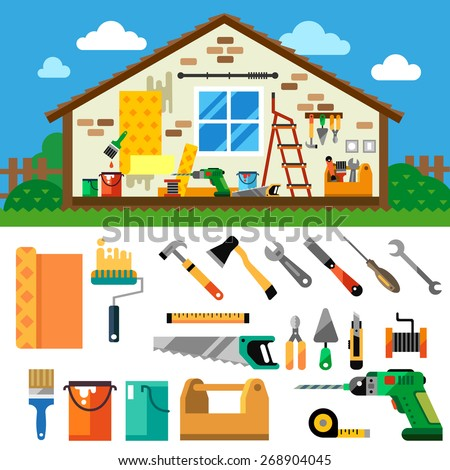 Home repair landscape. Construction. Tools and materials: hammer, ax, jig saw, screwdriver, wrench, saw, pliers , drill, screwdriver, ruler, wallpaper, paint, paintbrush. Vector flat  illustration - stock vector