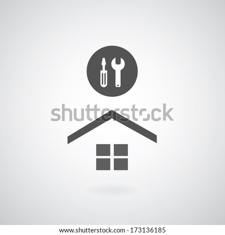 Home repair symbol on gray background  - stock vector