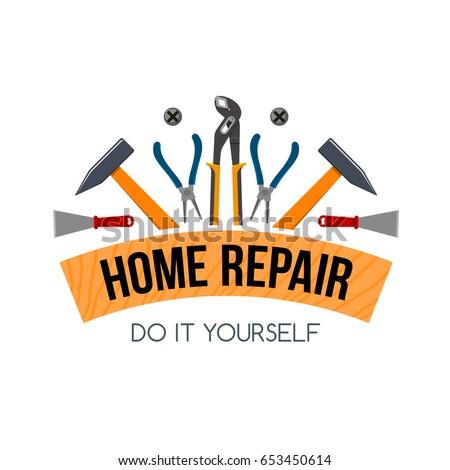 Home repair work tools icon ribbon vector de stock653450614 home repair work tools icon and ribbon for handyman construction carpentry or plastering service company solutioingenieria Gallery