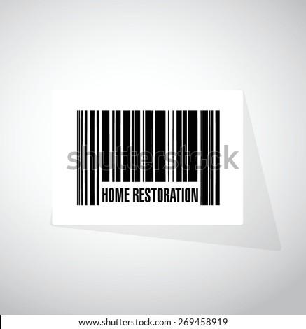 home restoration upc code sign illustration design over white - stock vector