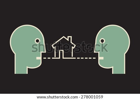 home sale negotiation, two people talking about house - stock vector