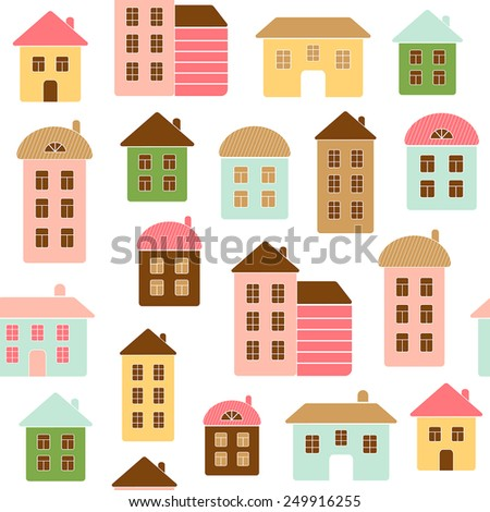 Home seamless pattern - stock vector