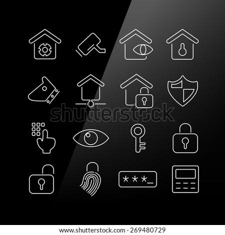 Home security concept icon set - Linear Series - stock vector