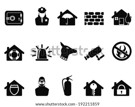 home security icons set - stock vector