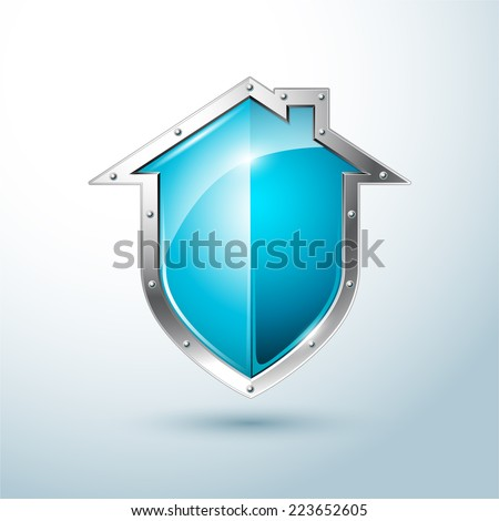 Home security silver and blue shield vector illustration - stock vector