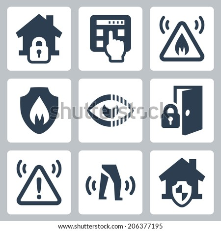 Home security vector icons set - stock vector
