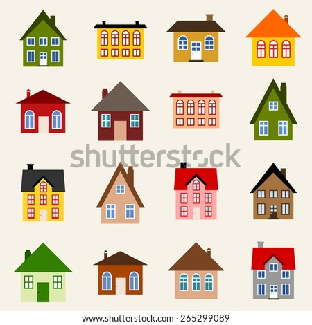 Home set - colorful house icon collection. Illustration group. - stock vector