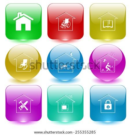 Home set. Vector set glass buttons. - stock vector
