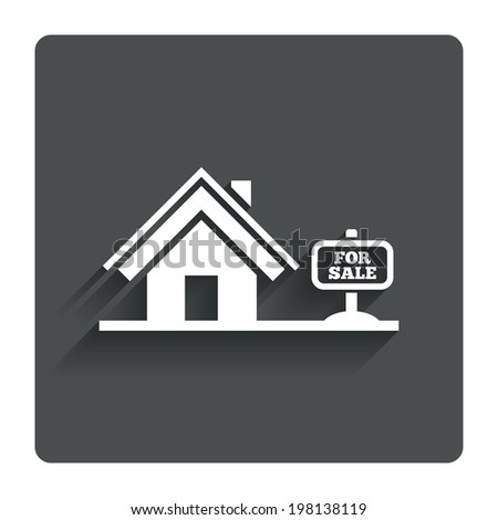 Home sign icon. House for sale. Broker symbol. Gray flat button with shadow. Modern UI website navigation. Vector - stock vector