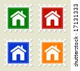 Home Sign Stamps - stock vector