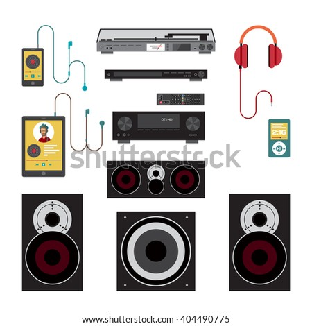 Home sound system. Home stereo flat vector illustration for music lovers. Loudspeakers, player, receiver, subwoofer, remote, vinyl, smartphone, tablet, headphones for listening to music
