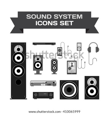 Home sound system. Home stereo flat vector set icons for music lovers. Loudspeakers, player, receiver, subwoofer, computer, remote, vinyl, smartphone, tablet, headphones icons for listening to music - stock vector