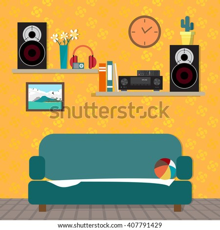 Home sound system in interior room. Home music flat vector illustration. Loudspeakers, player, receiver for home music lover in the apartment. Great place to relax on the sofa - stock vector