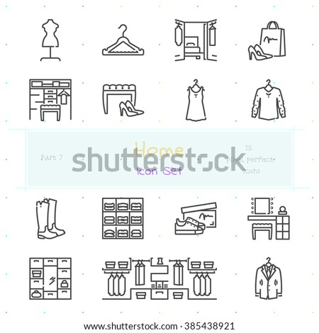 Home stuff outline icon set of 15 thin modern and stylish icons. Part 7 - dressing room stuff and furniture. Dark line version. EPS 10. Pixel perfect icons. - stock vector