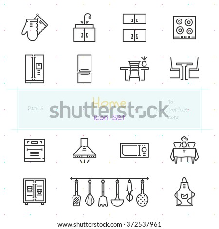 Home stuff outline icon set of 15 thin modern and stylish icons. Part 5 - kitchen furniture and kitchenware. Dark line version. EPS 10. Pixel perfect icons. - stock vector
