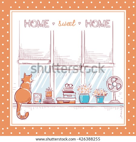 Home sweet home card.Windowsill with home love objects and cute cat. - stock vector