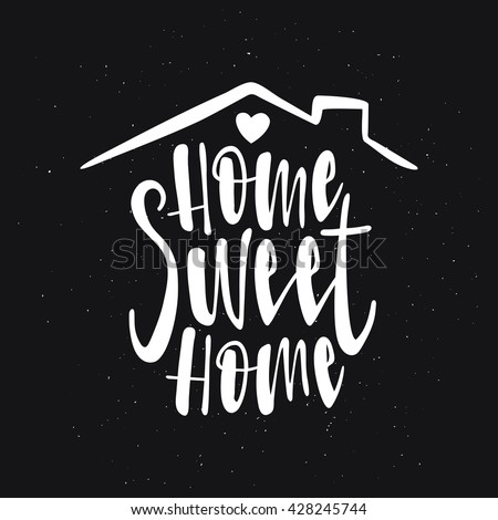 Home Sweet Typography Poster Handmade Stock Vector 428245744