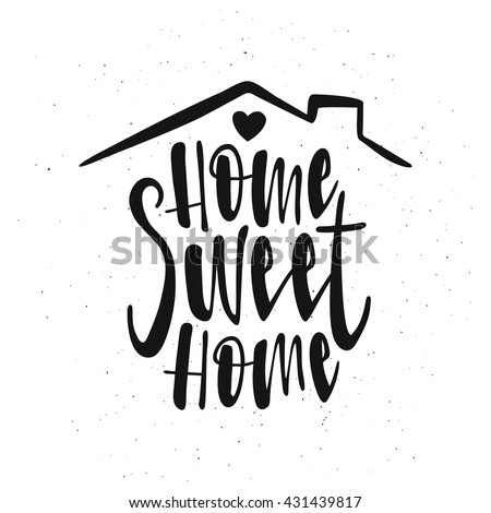 Home Sweet Typography Poster Handmade Lettering Print Vector Vintage Illustration