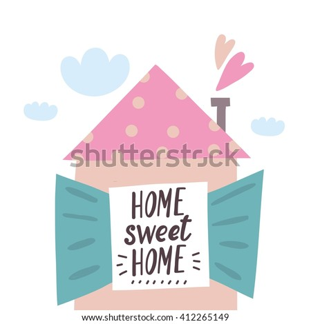 home sweet home vector card - stock vector