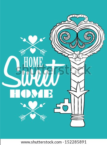 Home Sweet Home with Key Poster - stock vector