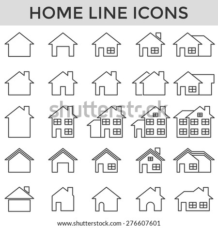 home symbol line icons set vector