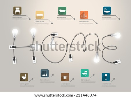 creative furniture icons set flat design. Home Text Concept With Creative Light Bulb Ideas, With Furniture Flat Icons  Set Abstract Info Design O