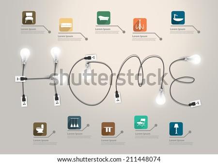 Home Text Concept Creative Light Bulb Stock Vector 211448074