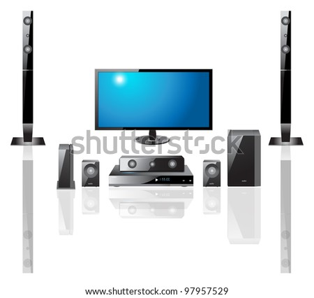 home theater Components  Television,  Remote Control, Speakers, DVS - stock vector