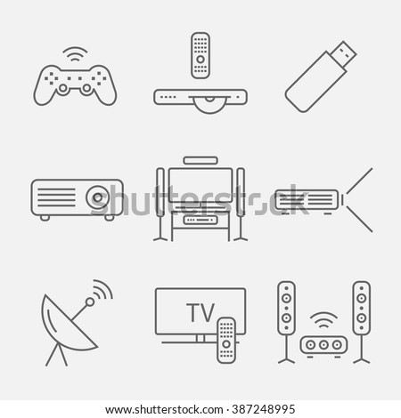 Home theater line icons. House technology - stock vector