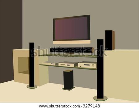 home theater vector - stock vector