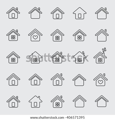 home thin line icon set