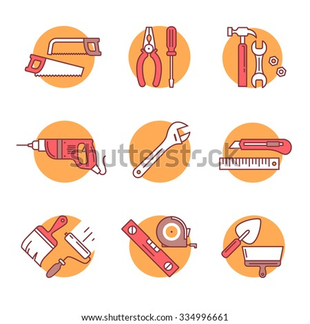 Home tools and hardware set. Thin line art icons. Flat style illustrations isolated on white. - stock vector