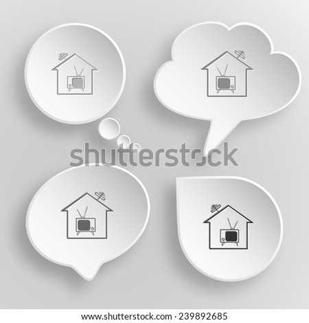 Home TV. White flat vector buttons on gray background. - stock vector