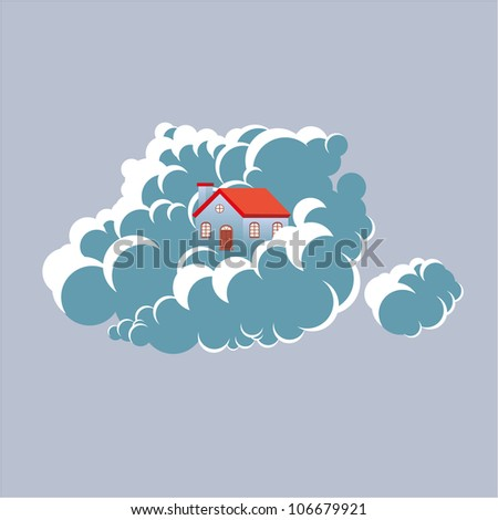 Home upon a cloud. Cloud networking concept - stock vector
